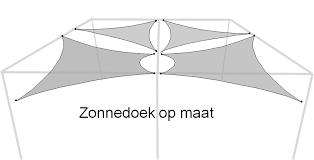 strak zonnedoek vierkant driehoek zonnzeil sunshade luifel schaduwdoek