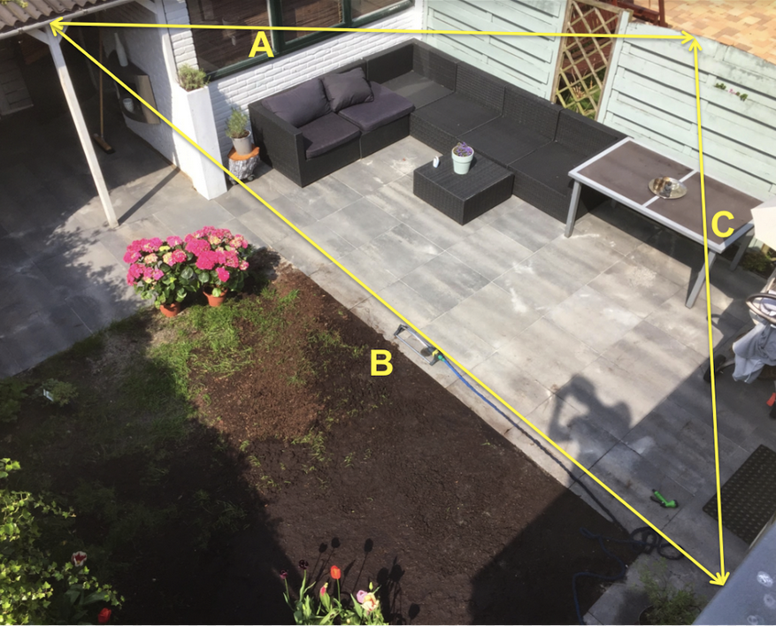 opmeten tuin voor een driehoek schaduwdoek zonnezeil sunshade luifel