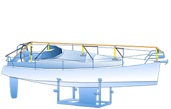 dekzeil frame op de bok gehele boot